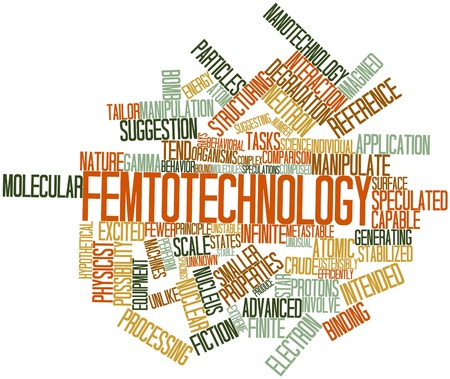 finite: Abstract word cloud for Femtotechnology with related tags and terms Stock Photo
