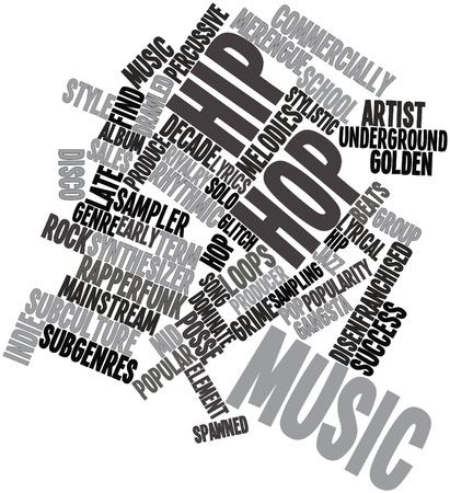 letras musicales: Nube palabra abstracta para Hip hop con etiquetas y términos relacionados