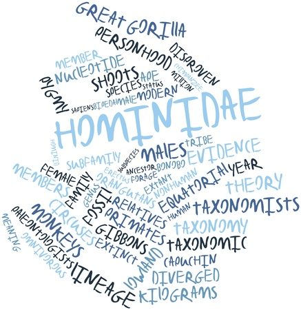 hominid: Abstract word cloud for Hominidae with related tags and terms