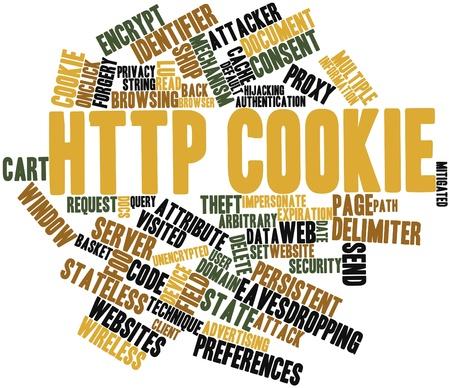 arbitrario: Nube palabra abstracta para cookie HTTP con etiquetas y términos relacionados