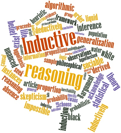 Abstract word cloud for Inductive reasoning with related tags and terms Stock Photo - 16633121