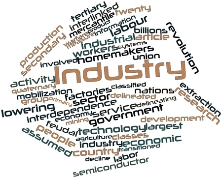 interdependence: Abstract word cloud for Industry with related tags and terms Stock Photo