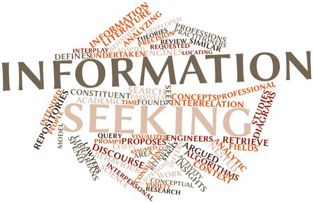 undertaken: Abstract word cloud for Information seeking with related tags and terms