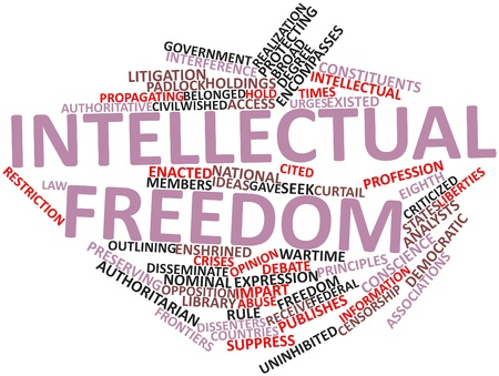 wartime: Abstract word cloud for Intellectual freedom with related tags and terms
