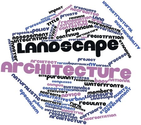 landscape architecture: Abstract word cloud for Landscape architecture with related tags and terms