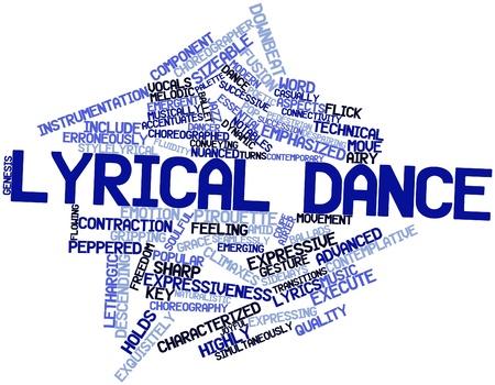 letras musicales: Nube palabra abstracta para la danza lírica con las etiquetas y términos relacionados Foto de archivo