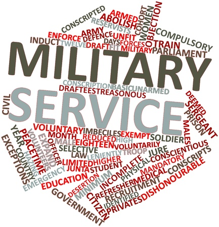 deemed: Abstract word cloud for Military service with related tags and terms Stock Photo