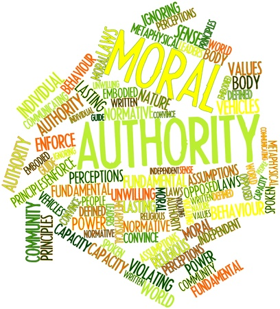 assumptions: Abstract word cloud for Moral authority with related tags and terms