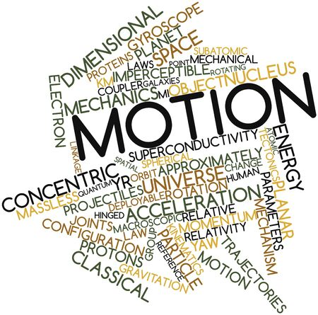 macroscopic: Abstract word cloud for Motion with related tags and terms Stock Photo