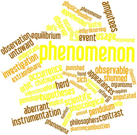 Abstract word cloud for Phenomenon with related tags and terms Stock Photo - 16632423