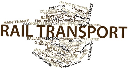 intercity: Abstract word cloud for Rail transport with related tags and terms Stock Photo