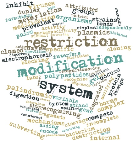 counteract: Abstract word cloud for Restriction modification system with related tags and terms Stock Photo