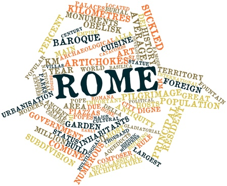Abstract word cloud for Rome with related tags and terms Stock Photo - 16632352