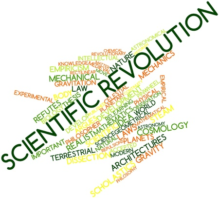 discontinuity: Abstract word cloud for Scientific revolution with related tags and terms Stock Photo