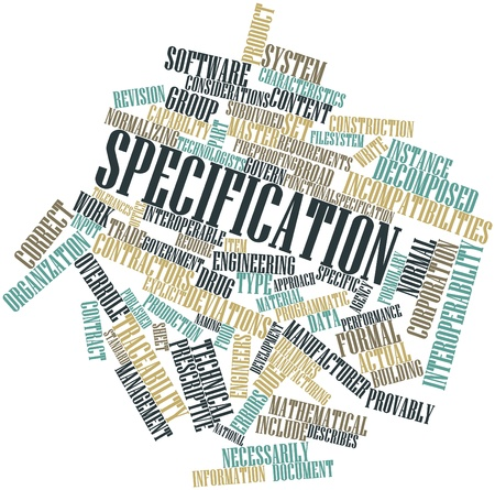 specification: Abstract word cloud for Specification with related tags and terms Stock Photo