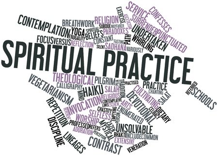 enumerated: Abstract word cloud for Spiritual practice with related tags and terms Stock Photo