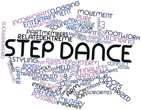 moves: Abstract word cloud for Step dance with related tags and terms