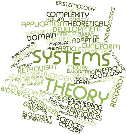 interdependence: Abstract word cloud for Systems theory with related tags and terms Stock Photo
