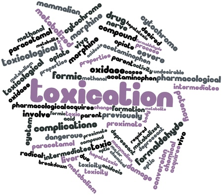 toxicity: Abstract word cloud for Toxication with related tags and terms Stock Photo