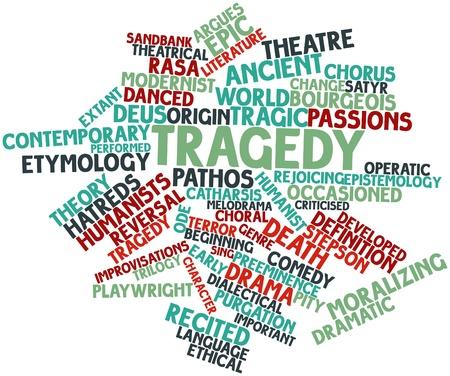 oratoria: Nube palabra abstracta por la tragedia con las etiquetas y términos relacionados