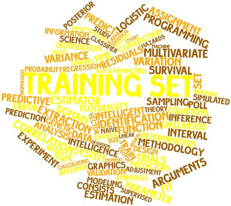 train table: Abstract word cloud for Training set with related tags and terms Stock Photo
