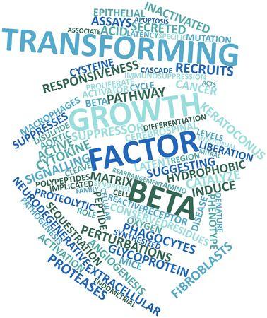 apoptosis: Nube palabra abstracta para el factor de crecimiento transformante beta con etiquetas y t�rminos relacionados