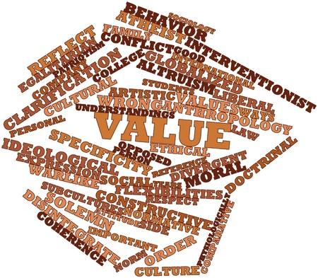 valores morales: Nube palabra abstracta por precio con las etiquetas y términos relacionados Foto de archivo
