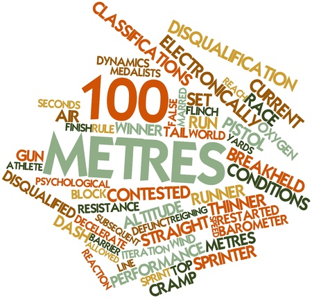 top gun: Abstract word cloud for 100 metres with related tags and terms