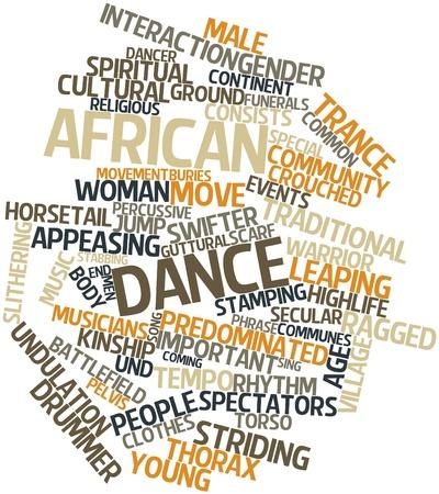 danza africana: Word cloud astratto per danza africana con tag correlati e termini