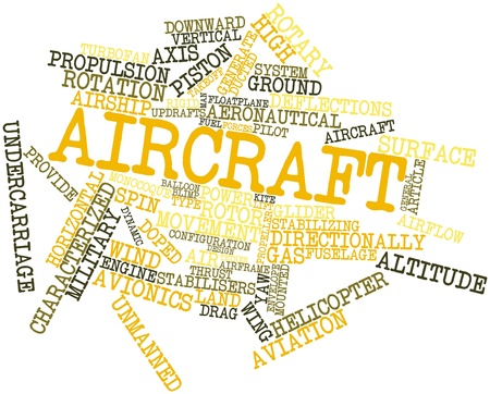 yaw: Abstract word cloud for Aircraft with related tags and terms Stock Photo