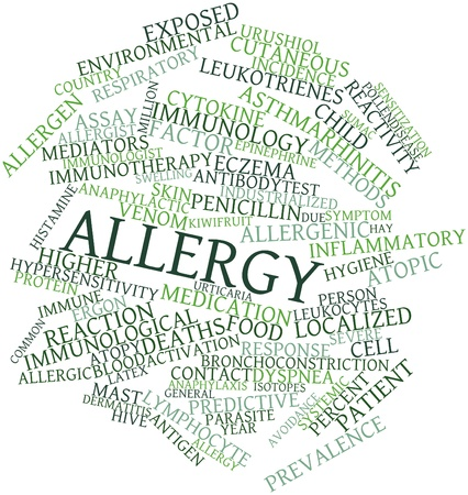 prevalence: Abstract word cloud for Allergy with related tags and terms Stock Photo