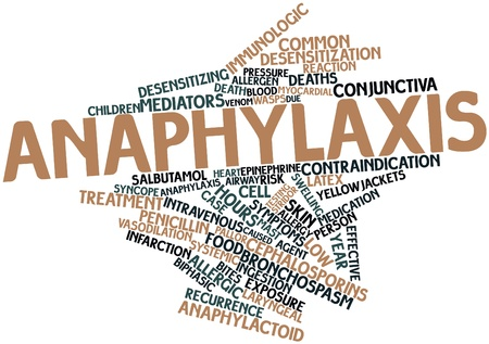 histamine: Abstract word cloud for Anaphylaxis with related tags and terms Stock Photo