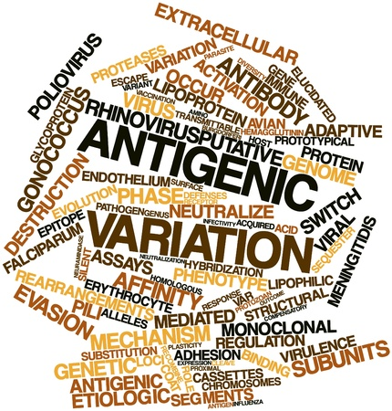 関連タグと用語と抗原性変異株の抽象的な単語大群 写真素材