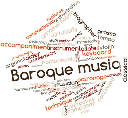 orchestration: Abstract word cloud for Baroque music with related tags and terms Stock Photo