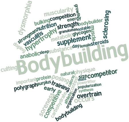 digest: Abstract word cloud for Bodybuilding with related tags and terms Stock Photo