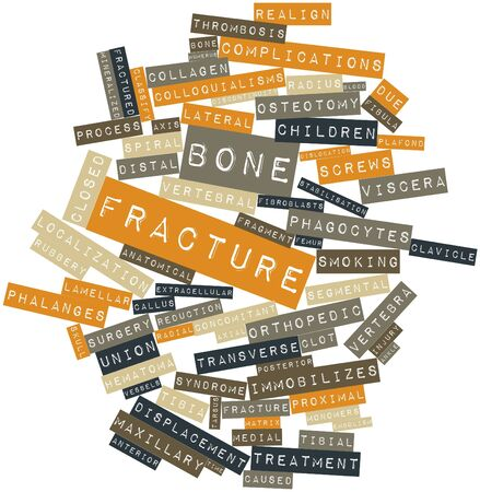 Abstract word cloud for Bone fracture with related tags and terms Stock Photo - 16678363