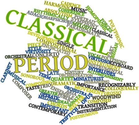 minuet: Abstract word cloud for Classical period with related tags and terms
