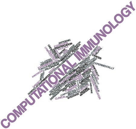 Abstract word cloud for Computational immunology with related tags and terms Stock Photo - 16678315