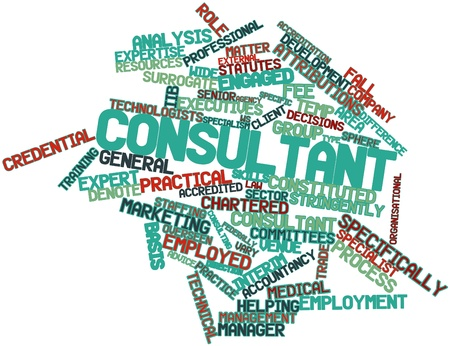 overseen: Abstract word cloud for Consultant with related tags and terms Stock Photo