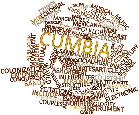 flute structure: Abstract word cloud for Cumbia with related tags and terms