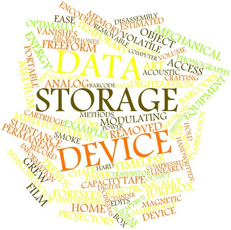 storage device: Abstract word cloud for Data storage device with related tags and terms Stock Photo