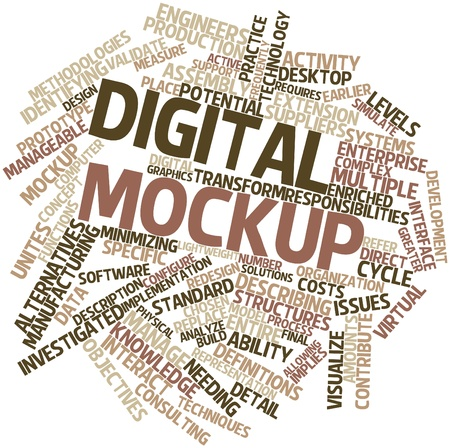 investigated: Abstract word cloud for Digital mockup with related tags and terms