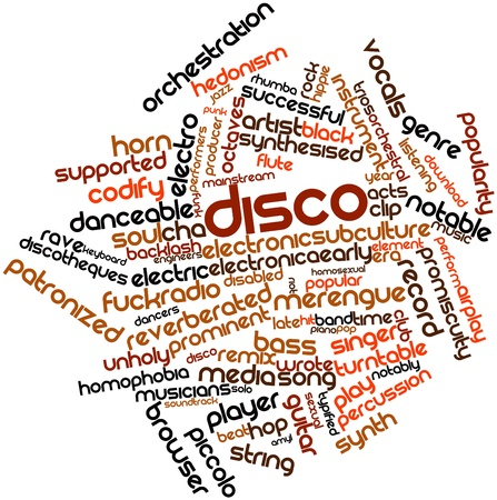 electronica: Abstract word cloud for Disco with related tags and terms