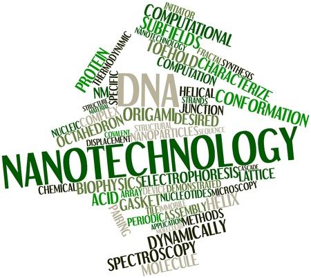 characterize: Nube palabra abstracta para la nanotecnolog�a de ADN con las etiquetas y t�rminos relacionados Foto de archivo