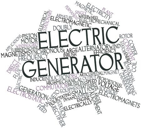 magneto: Abstract word cloud for Electric generator with related tags and terms Stock Photo