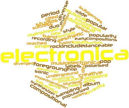 electronica: Abstract word cloud for Electronica with related tags and terms