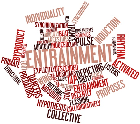 socially: Abstract word cloud for Entrainment with related tags and terms Stock Photo