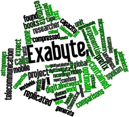 supposedly: Word cloud astratto per Exabyte con tag correlati e termini Archivio Fotografico