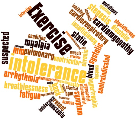bpm: Abstract word cloud for Exercise intolerance with related tags and terms Stock Photo