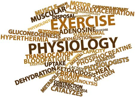 physiological: Abstract word cloud for Exercise physiology with related tags and terms Stock Photo